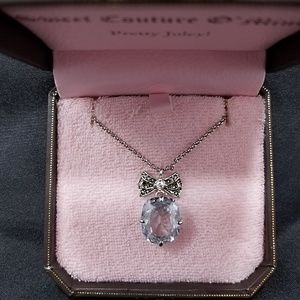 Juicy Couture Crystal Pendant Necklace Silver Tone